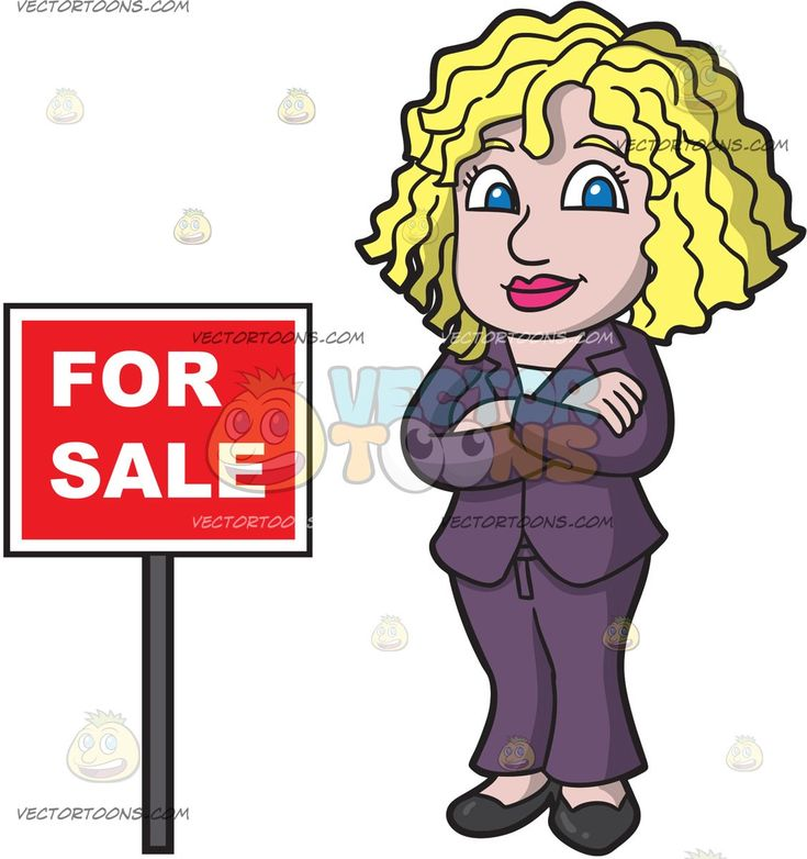 A Female Real Estate Agent Confident To Sell Houses:   A woman with curly blonde hair wearing a dark purple pantsuit black shoes smiles as she crosses her arms on her chest while standing beside a red for sale sign