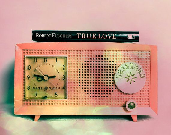 Antique Radio Retro Decor Photograph Pink by Squintphotography