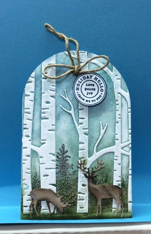 handmade Deer Tag by jandjccc ... like the round top ... birches with inked folder ... gorgeous! ... Stampin' Up!