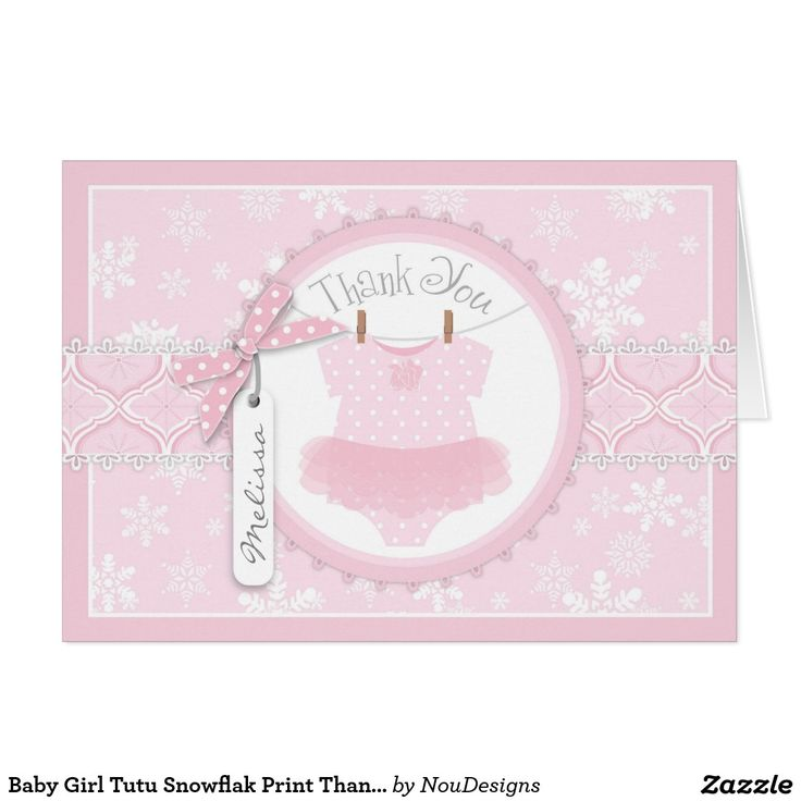 what to write in my bridal shower thank you cards%0A Baby Girl Tutu Snowflak Print Thank You Card
