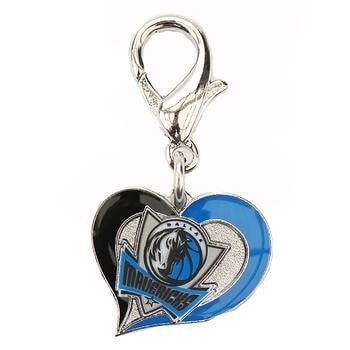 Dallas Mavericks Swirl Heart Dog Collar Charm. Keep your favorite NBA team close to your dog's heart with the Dallas Mavericks Swirl Heart Dog Collar Charm!  Mavericks logo in heart. Officially licensed. Lobster claw clasp. Made in the U.S.A.  Why We Love It:Show your team spirit with this high-quality, officially licensed Dallas Mavericks Swirl Heart Dog Collar Charm from Diva Dog.These jewelry-quality charms are hand- enameled in the teams colors. They also have easy-open lobster clasps...