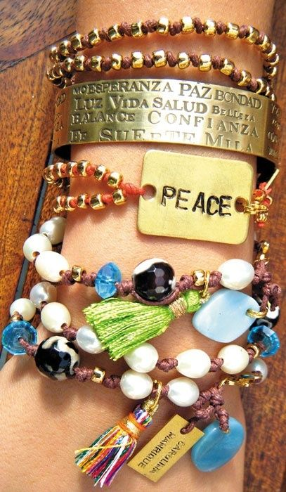 bracelets. my favorite is the spanish one with the words hope, peace, light, life, health, balance, confidence..