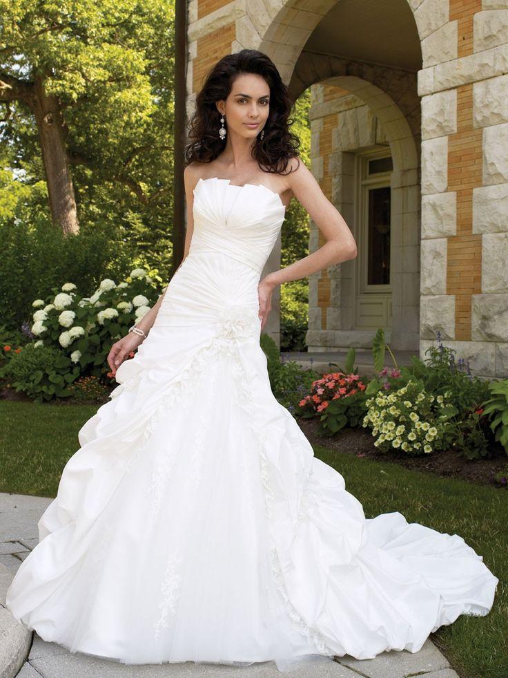 Schulterfreies Crumb-Fänger Ball Brautkleid Hochzeitskleid mit Sunburst plissierten Mieder $360.92 Hochzeitskleider