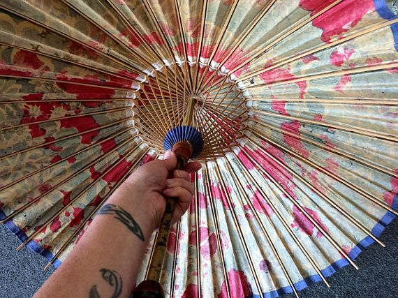Vintage 1940s Rare Japanese Bamboo and Oil Paper Umbrella or
