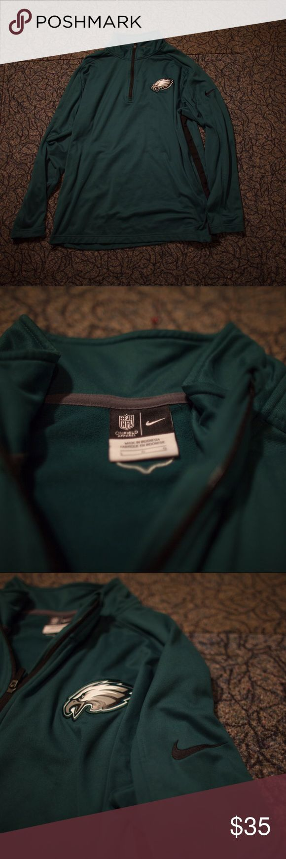 Philadelphia Eagles Nike NFL Pullover Pretty much brand new, worn only a few times. Official Nike NFL merchandise, size large. Super comfortable, and sharp. Nike Jackets & Coats Performance Jackets