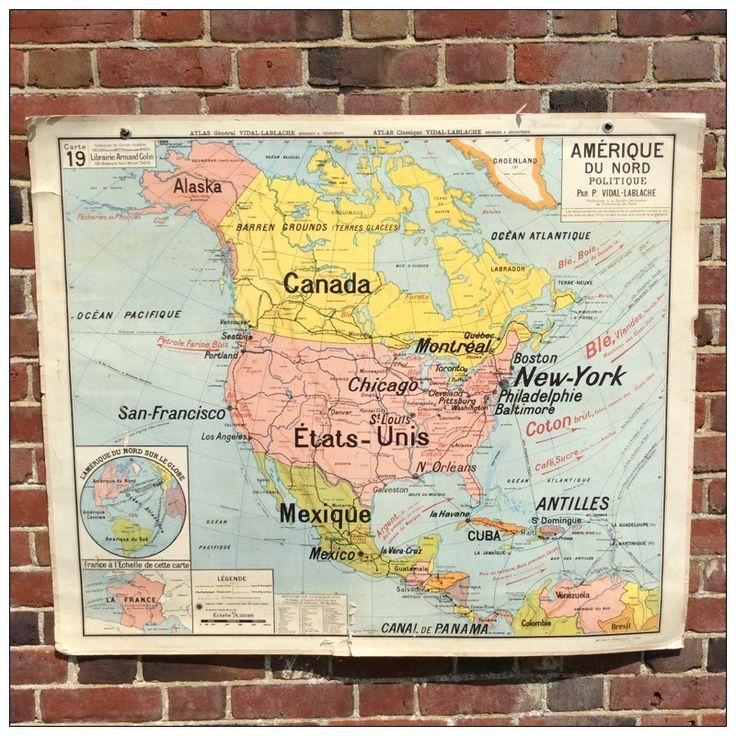 French Hatier Vintage Map of America