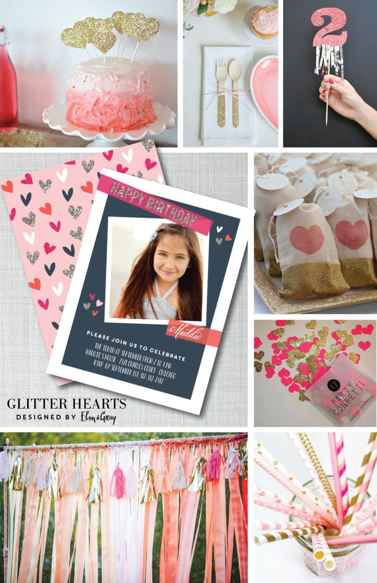 Get inspired by @elmandgray's bright and glittery birthday party inspiration board. #ombre #glitter