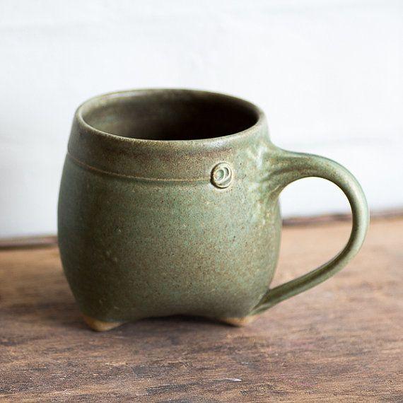 Green tripod mug by illyria pottery on etsy clay for Clay mug ideas