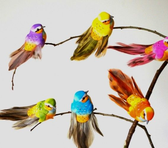 Oiseaux d co en plumes x12 faux oiseaux artificiels 10cm oiseaux artificiels - Faux oiseaux decoration ...