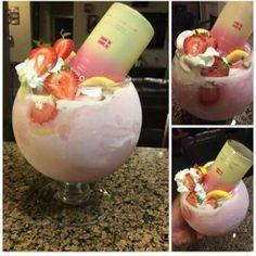 Twisted Pink Panty: svedka pink lemonade vodka, strawberrys, heavy cream, and lemonade?