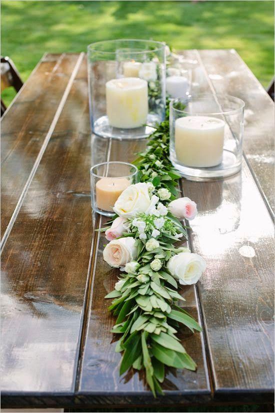 centros de mesa con velas para bodas; use for end of summer picnic August 20