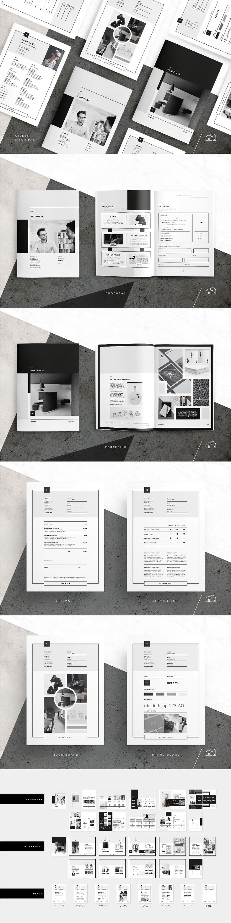 Pitch Pack. For those looking for a professional presentation, the 'Kelsey' Pitch Pack for Adobe InDesign offers a beautifully minimal​ design that includes everything you need from pitching to billing a client. #PitchPack #template #brochure #design
