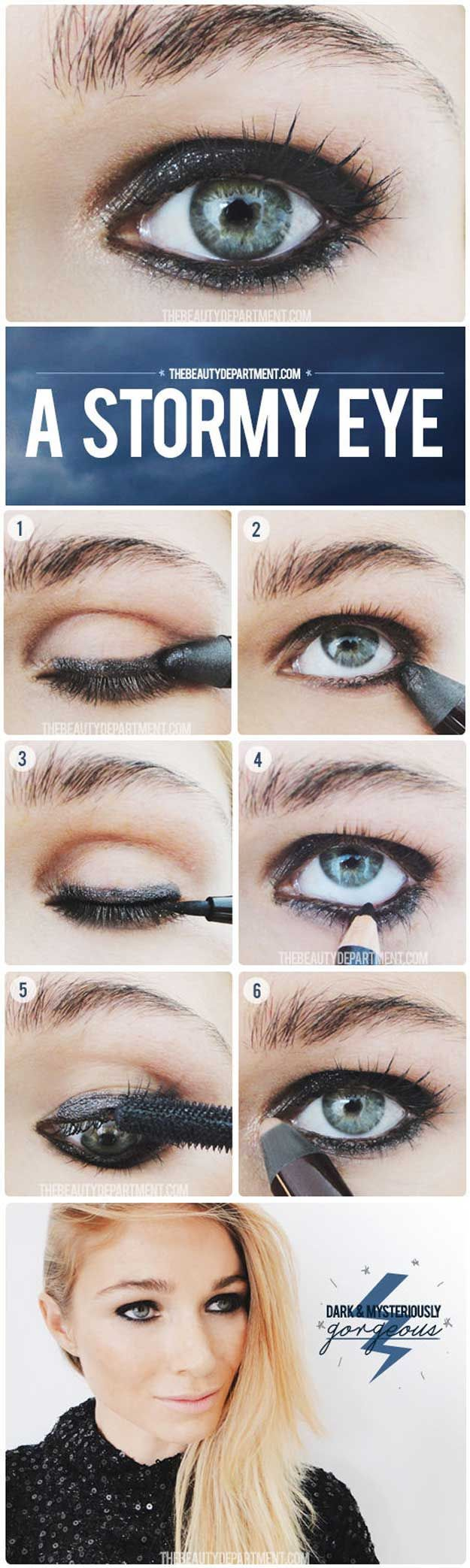 35 Glitter Eye Makeup Tutorials - Nighttime Moody Makeup - Step By Step DIY Glitter Eye Make Up Tutorials that WIll Make Yours Eyes Sparkle - Silver and Gold Linda Hallberg Looks, Awesome Eyeshadow Products, Urban Decay and Looks for Your Eyebrows to Make You Look Like a Beauty - thegoddess.com/glitter-eye-makeup-tutorials #makeuplooksstepbystep