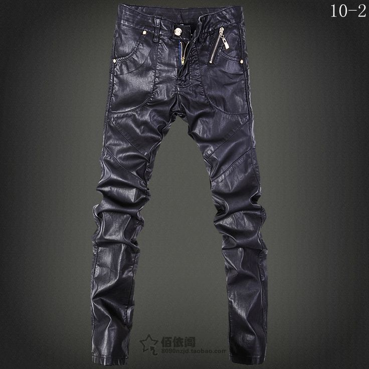 Spring 2017 winer men brand fashion casual thermal Locomotive slim tight leather pants men's trousers ! free shipping