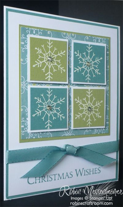 SU! Endless Wishes stamp set; All is Calm DSP; Pear Pizzazz and Lost Lagoon cardstock; white embossing powder - Robin Messenheimer