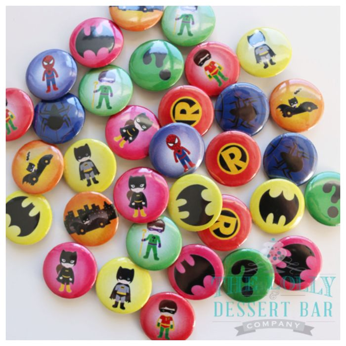 40 mixed superhero badges. 25mm metal back badges 12 different designs | The Lolly & Dessert Bar Company | madeit.com.au
