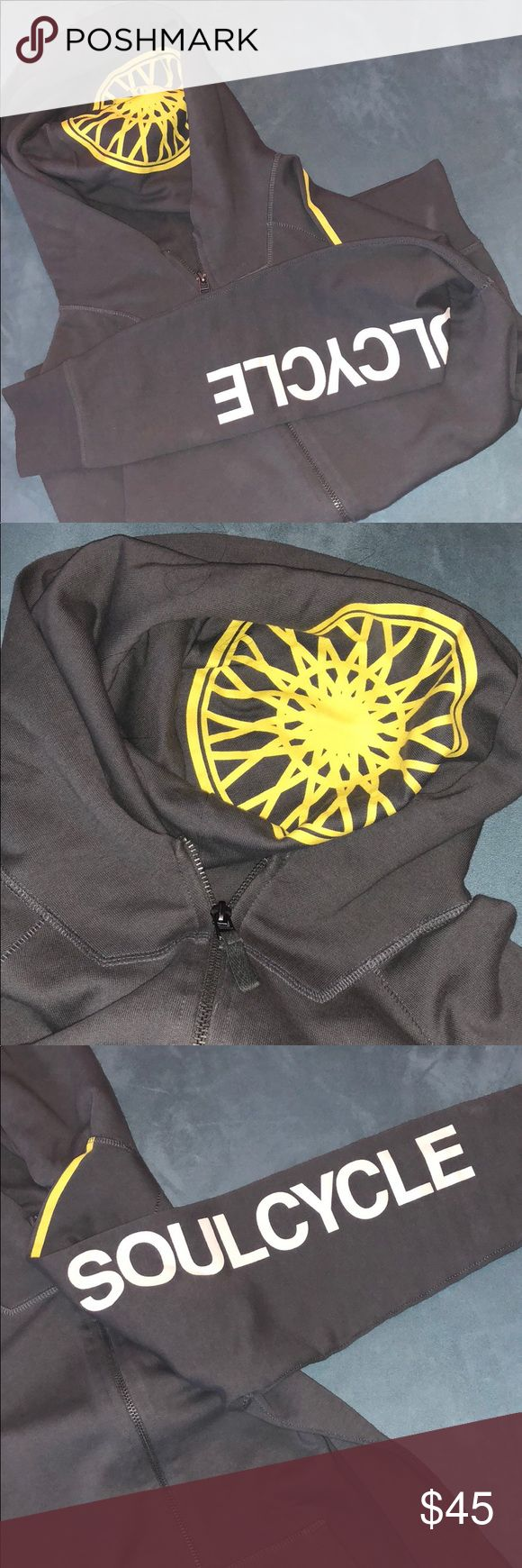 Women's SoulCycle zip up hoodie! Women's gray & yellow SoulCycle hoodie! Zips up the front with pockets. The bright yellow wheel logo is in the hood & the words SoulCycle in white down the left arm. soulcycle Sweaters