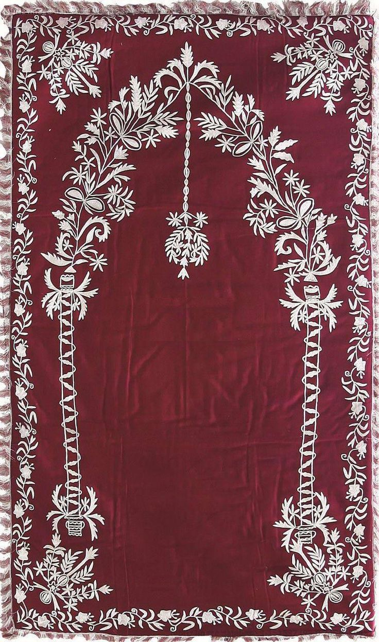 Embroidered 'seccade' (prayer mat). Late-Ottoman, 19th century. Silver thread on velvet.