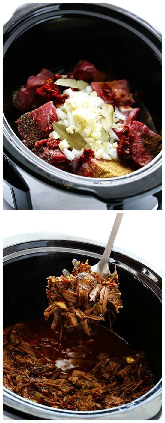 I love everything about this Slow Cooker Barbacoa Beef from Gimme Some Oven; chuck roast cooks until it's fall-apart tender with just the right mix of spices and savory ingredients.  [Featured on SlowCookerFromScratch.com]