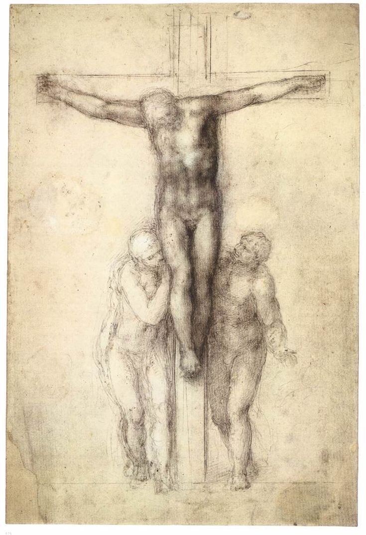 MICHELANGELO Buonarroti Christ on the Cross with the Virgin and St John 1555-64 Black chalk, white heightening, 412 x 279 mm British Museum, London