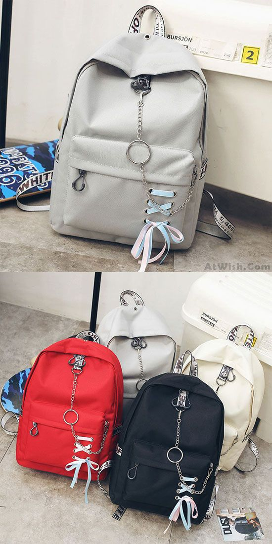 404119e76bc8 Leisure Girl s Shoelace Designed Ribbon Chain-laden Metal Chain School Bag  Canvas Backpack for big sale!  backpack  Bag  school  college  student   lady ...
