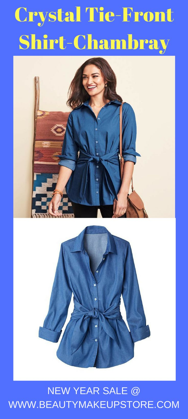 Crystal Tie-Front Shirt-Chambray #womenshirt #womenshirtfashion #womenclothing #womenclothingonsale #womenshirtforsale women shirt | women shirt fashion | women shirt design | women shirt blouse | women shirts with sayings | Women Shirts | Paula S. Lee | Women Shirt | Women Shirts | women shirt flannels |