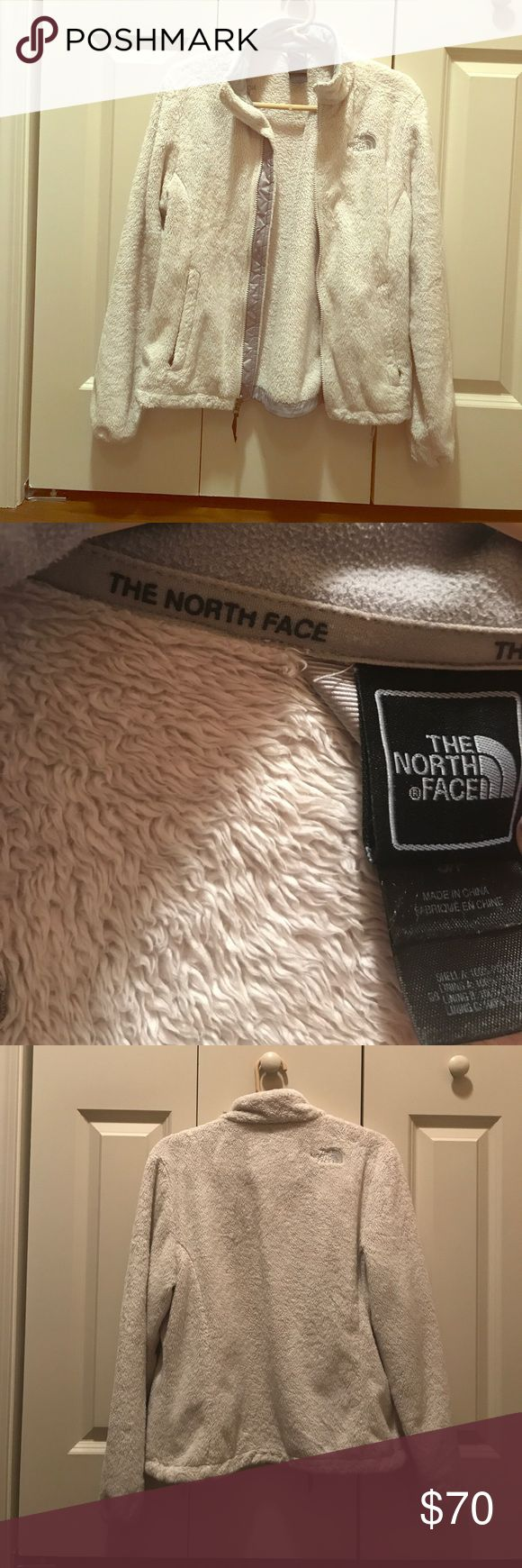 Off-White North Face Fleece Zip-Up North Face zip-up with grey lettering                                     *Preowned, but come from a smoke and pet-free home  *No scratches, rips, or tears North Face Jackets & Coats