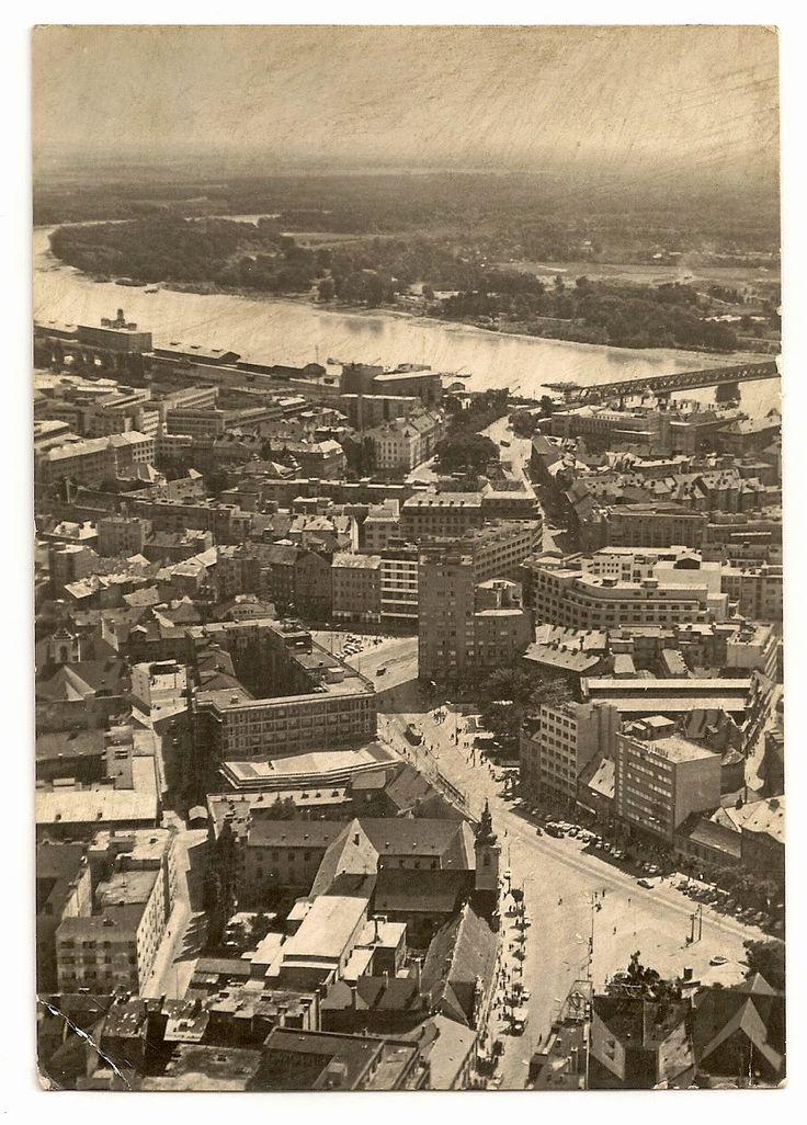 stamp and postcard: The look of Bratislava 2.7.circa 1965 pohlad z vysky k staremu mostu