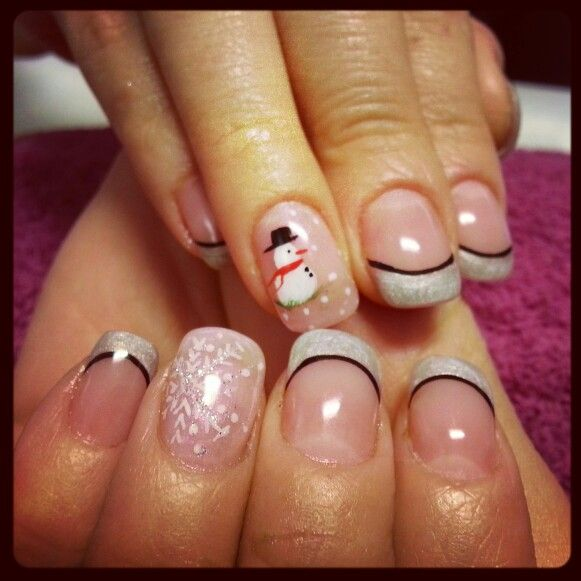 Nailart uñas muñeco de nieve