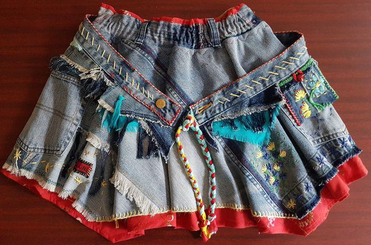 Miniröcke - Jeans-Minirock im Lagenlook mit coolem Gürtel, 107 - ein Designerstück von Majoni bei DaWanda