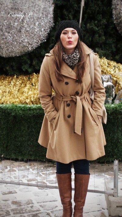 Black beanie + leopard print scarf + beige trench coat