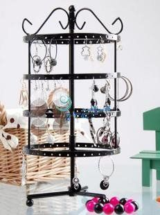 Amazon.com - MyGift® 4 Tiers Black Rotating Spin Table 92 pairs Earring Organizer / Jewelry Display Stand - Jewelry Towers $16