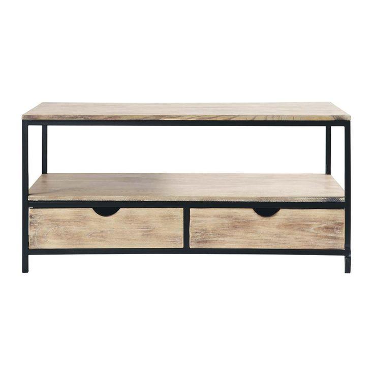 Meuble TV indus en m�tal et bois massif noir L 117 cm Long Island-MduM 169€ comme table basse?