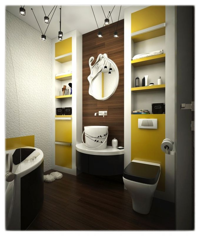 Bathroom with wood tiles, yellow furniture and statement sink and mirror.