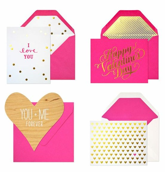 Fuchsia & Gold ValentineAwesome Design, Gold Valentine, Pink Wedding, Pretty Valentine, Parties Ideas Holiday, Sugar Paper, Valentine Cards, Happy Holiday, Heart Cards