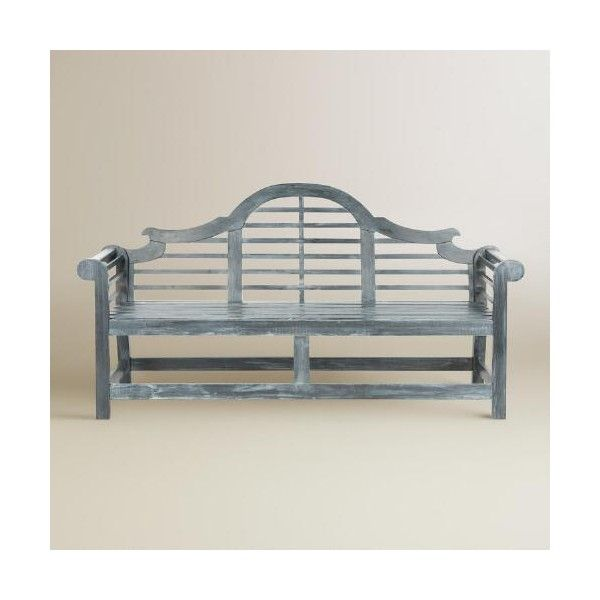 Cost Plus World Market Ash Gray Wood Nerano Outdoor Bench ($450) via Polyvore featuring home, outdoors, patio furniture, outdoor benches, outdoor patio furniture, outdoor garden bench, outdoor garden furniture, grey patio furniture and cost plus world market outdoor furniture