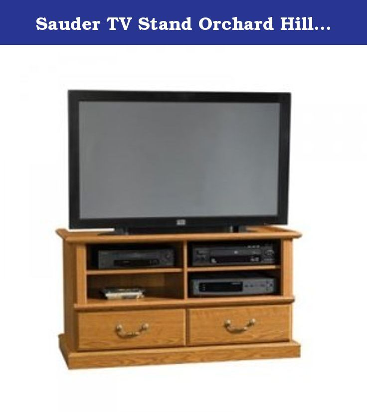 Sauder TV Stand Orchard Hills Entertainment Credenza, Carolina Oak finish. 45-3/4 in. W x 21-1/4 in. D x 24-7/8 in. H Carolina Oak finish Holds TVs weighing 240 lbs. or less TV shelf measures 41-3/4 in. wide Quick & easy T-lock drawer assembly system Drawers have metal runners & safety stops 2 adjustable shelves hold audio/video equipment Assembly required Weight: Approximately: 113 pounds Shipping Dimensions: Approximately 50.126 x 21.752 x 4.811 inches. (oversized) This Product Ships...