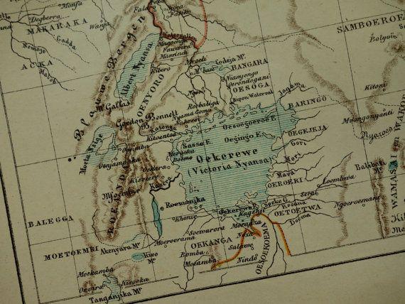 Old map of Africa upper Nile in 1882 Dutch antique map Victoria lake Kenya Uganda Ethiopia area by J. Kuyper - oude kaart van Afrika Kenia
