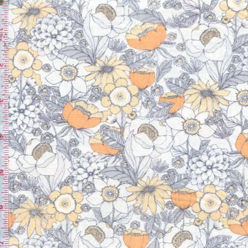 Mercer by Dear Stella ~ A beautiful floral collection in modern shades of peach and navy! Follow this pin to see the entire collection at the Fabric Shack!