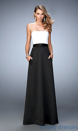 Shop black-and white formal dresses with pockets at Simply Dresses. Evening gowns and long strapless dresses for wedding receptions and parties.