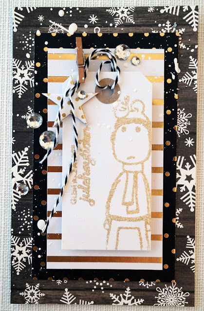 AnMa.no - Blog - Christmascard created by Dt Linda. Stamps from MagicMonday + Absurdgalleriet.