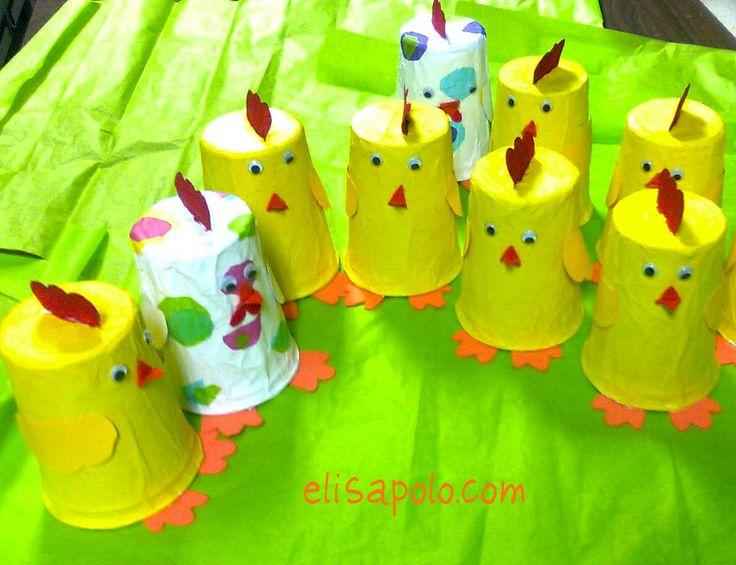 Pollitos con vasos desechables manualidades por hacer for Manualidades pascua