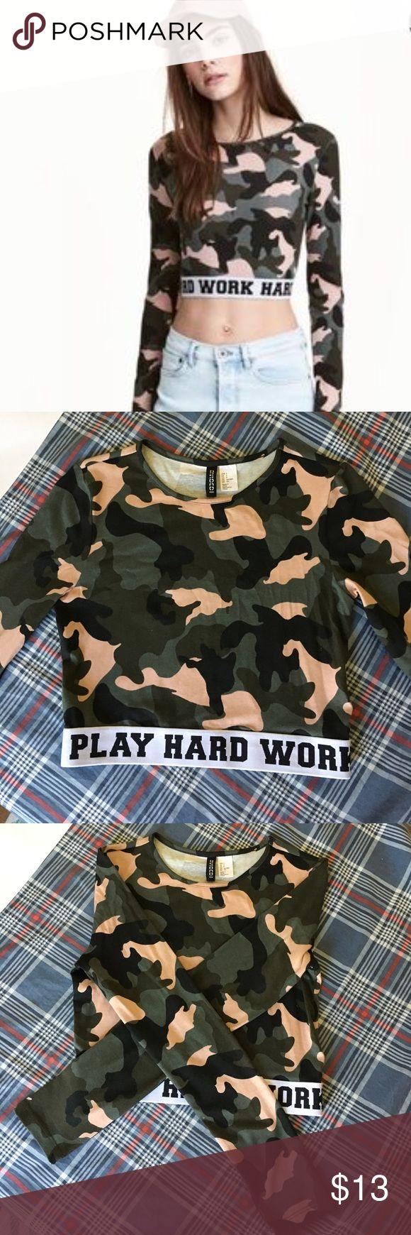 Play Hard Work Hard Camo Crop Top NWOT. H&M Camo crop top. Long sleeve. Size Small. H&M Tops Crop Tops