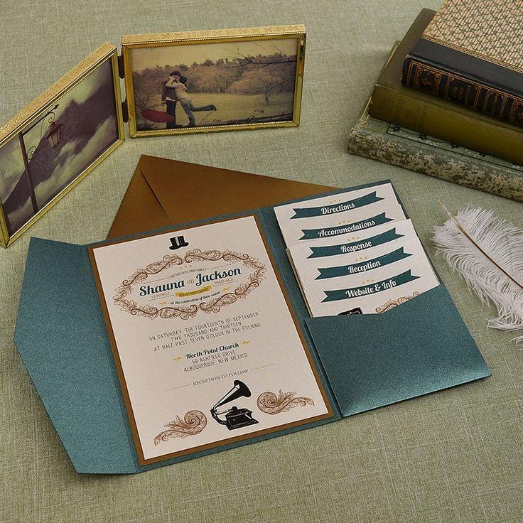avery address labels wedding invitations%0A Vintage Emerald and Antique Gold Wedding Pocket Invitation