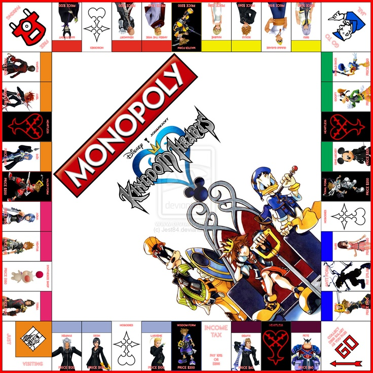 Monopoly: Kingdom Hearts MUST HAVE!!! It would be better if they had the different worlds along with the characters.