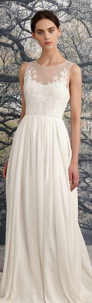"nicole miller spring 2016 bridal scoop neckline sleeveless romantic flora embroidered sheath wedding dress ""savannah"" #weddingdress #sheathweddingdress"