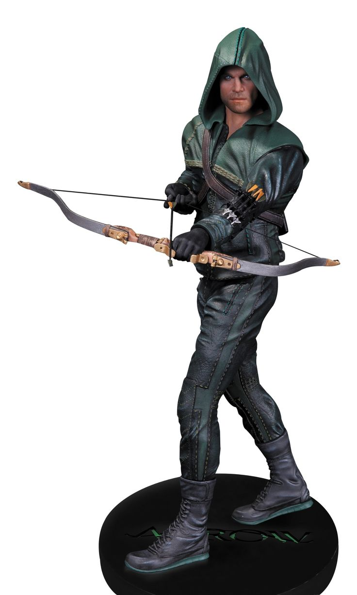 """DC Collectibles Arrow Oliver Queen Statue. Sculpted by Gentle Giant. Based on The CW series """"Arrow"""". Fashioned in the likeness of """"Arrow"""" actor Stephen Amell. Measures approximately 13.25"""" H x 5"""" W x 5"""" D. Hand-painted, cold-cast porcelain."""