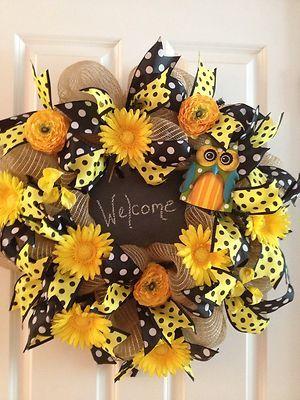 Fall Summer Burlap Deco Mesh Wreath w Owl and Chalkboard Accent | eBay