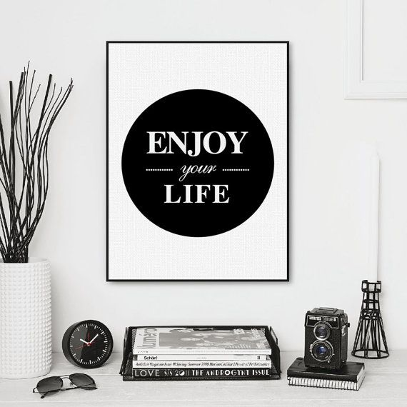Freeshipping Nordic Minimalist Black White Typography Enjoy Life Quotes Art Print Poster Wall Art Living Room Canvas Painting Home Decor by PicSaying