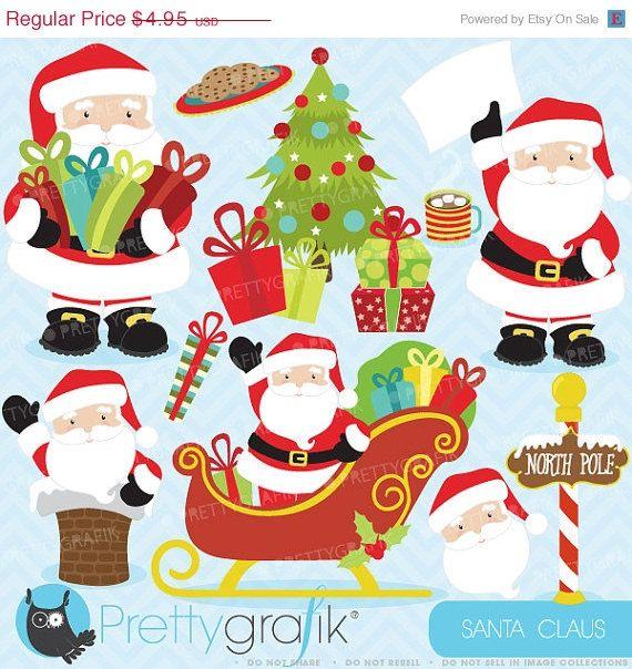 80% OFF SALE Christmas clipart commercial use,Santa Claus vector graphics, digital clip art, digital images  - CL607